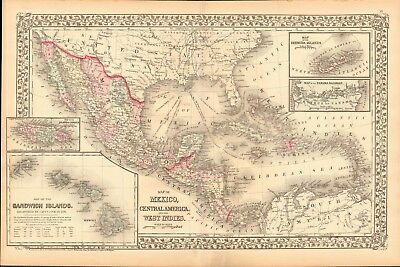 1874 Antique Map - Usa - Mexico, Central America And West Indies, Hawaii,bermuda