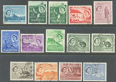 MAURITIUS 1953/7 QEII Pictorial Short Set to 10Rs (14) Used