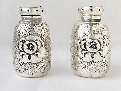 Rare Whiting Aesthetic Sterling Silver Repousse Salt & Pepper Shakers c1880