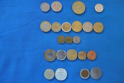 22 World Coins from 7 countries - ALL different, NO duplications