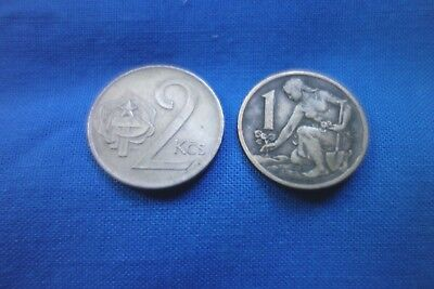 Czechoslovakia - 2 old coins - both different