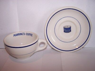 Vintage Syracuse China Restaurant Ware Cup and Saucer Advertising Manning Coffee