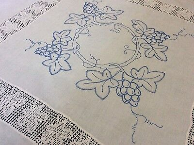 Stunning Large Antique Irish Linen Tablecloth ~ Embroidery/lace ~ Grape & Vine