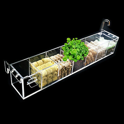 2 6 Grids Acrylic Aquarium Fish Tank External Oxygen Filter Boxes