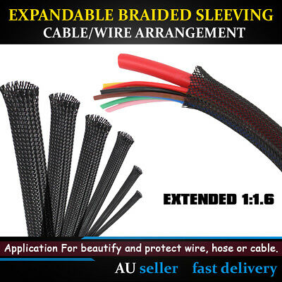 Black Expandable Braided Sleeving Cable Wire High Density Auto Wire Sheathing AU