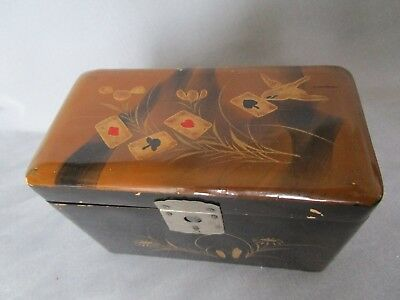 Antique Japanese Playing Card Double Deck Holder Maki-e Meiji Lacquer c.1900