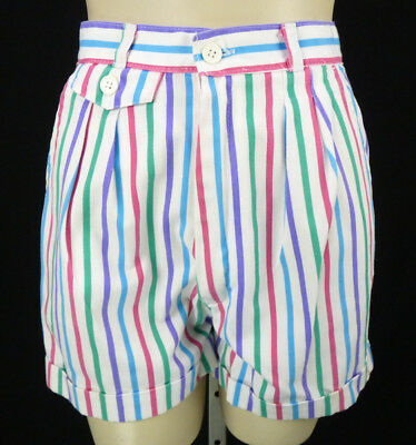 "Vintage 80s Rainbow Stripe High Waist Shorts XS 24"" Waist White Cuffed Hip Hop"