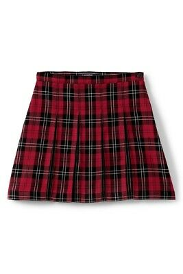 LANDS END Red/Black Plaid School Uniform Box Pleat Skirt Girls 8 *GC* $45