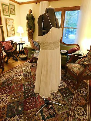 Beautiful Off White Informal Wedding Dress Sundress Style Beaded English Net S12