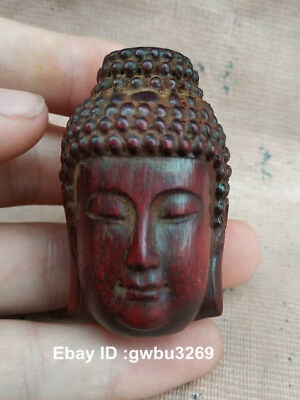 Exquisite Chinese Wood Carving Decoration Carved Buddha Head Boxwood Pendant