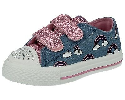 Girls Infant Chatterbox Canvas Denim Low Top Slip On Pumps Light Up LED Trainers