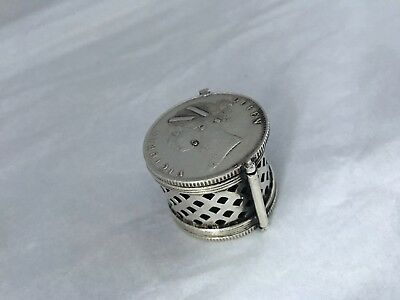 Antique old Ragasthan silver Victorian East India company coin Vinaigrette 1840