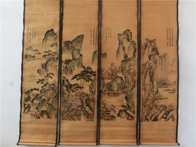 A Set Of 4Pcs,Old Collection Scroll Chinese Painting-  landscape Map