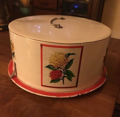 Vtg 1950-60's Maid Of Honor Red White Metal Tin Cake Saver Carrier Flowers