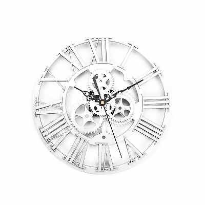 NEW Extra Large Silver Metal Iron Roman Numeral Wall Clock Shabby Chic UK