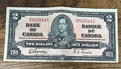 1937 $2 Two Dollar Deux Dollars Bank of Canada Bank Note Bill Currency