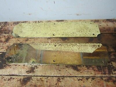 vintage Pair Large Heavy Plain Brass Door Push Finger Plates Steampunk part