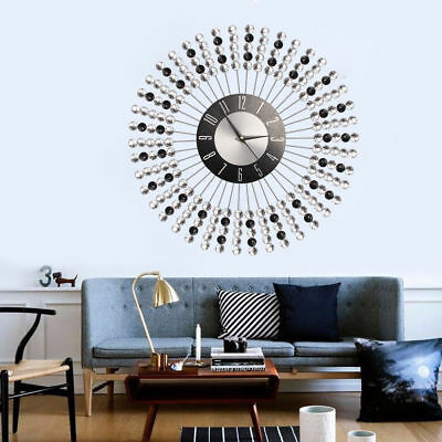 43cm Clear Black Diamante Beaded Jeweled Round Sunburst Metal Wall Clock New