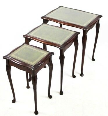 Antique Queen Anne Style Mahogany Leather Top Nest Of 3 Coffee Tables  [PL4468]