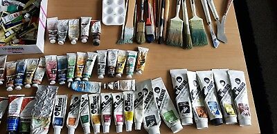 bob ross winton daler rowney etc oil paints and brushes
