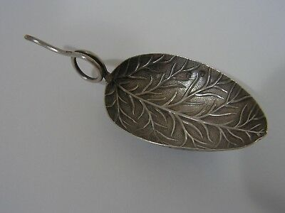 Antique Georgian Solid Sterling Silver Leaf Shaped Tea Caddy London 1903