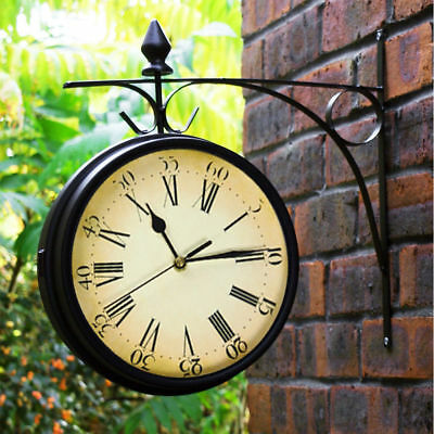 Horse Bell Outdoor Wall Clock Thermometer Garden Wall Station Bracket Black UK