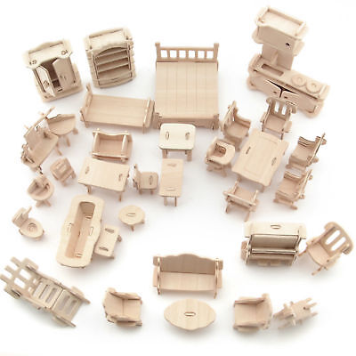 34Pcs Set Vintage Wooden Furniture Dolls House Miniature Toys Kids Gifts New