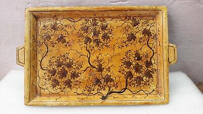 Vintage Old Handcrafted Wooden Serving Tray Hand Painted Kashmir Art
