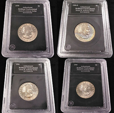 1979, 80, 81, 99 UNCIRCULATED Susan B. Anthony Dollar Coin Year Set