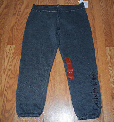 NWT Womens CALVIN KLEIN Charcoal Gray Exercise Lounge Jogger Sweat Pants S   50 71f4f2f39