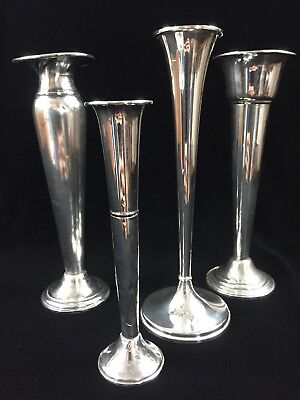 Lot of 4 Sterling Silver Weighted Bud Vases ~ International, Redlich, AMC, Alvin