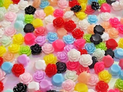 10mm Tiny Resin-Flatback 3D Flowers Roses Craft DIY Mixed Brights Glue on 20pcs