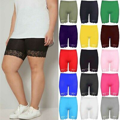 Ladies Hot Pants Jersey Gym Biker Tights Womens Scallop Lace Trim Cycling Shorts