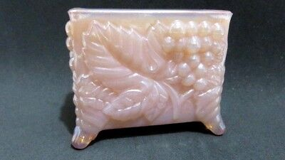 Vintage Boyd Glass Pink Iridescent Business Card Toothpick Holder Grape & Leaves