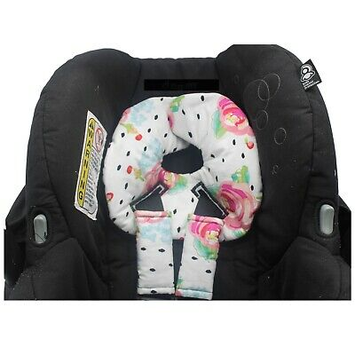 Infant Car Seat Head Support, Arm Pad, Car Seat Strap Covers, Dots, Floral