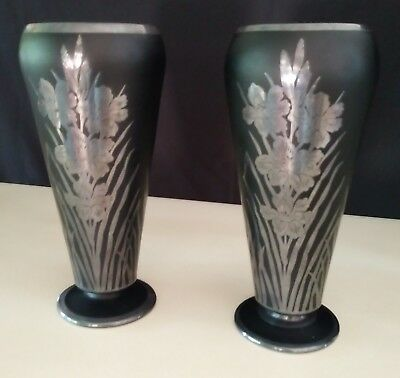 Antique Pair of Rockwell Silver Co Silver Overlay on Black Amethyst Vases 11""