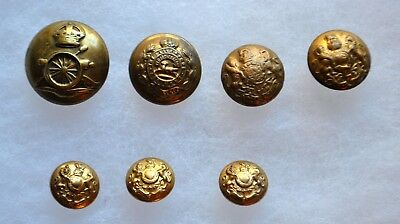 WWI British Military Buttons, Lg. Royal Artillery & General Service Types  7pcs