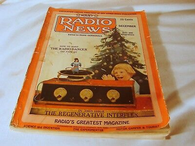 Old Radio News Magazine, December 1925, VG Complete Condition