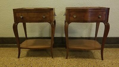 Vintage Pair Marble Top Planter End Tables In The French Manner Made In Italy Nr