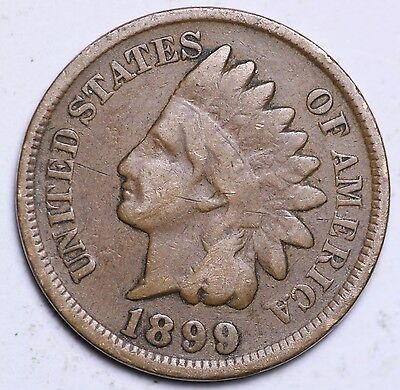 1899 Indian Head Cent Penny / Circulated Grade Good / Very Good 95% Copper Coin