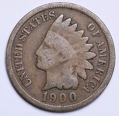 1900 Indian Head Cent Penny / Circulated Grade Good / Very Good 95% Copper Coin