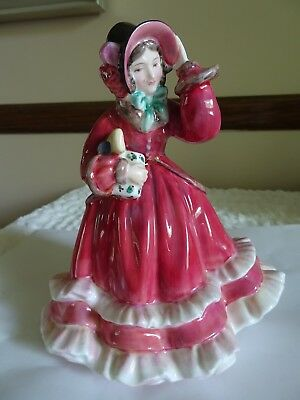 "Vintage Royal Doulton Bone China Figurine ""Christmas Time"" Lady Victorian Dress"