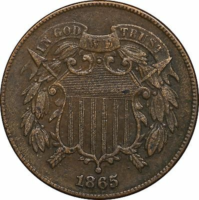 1865 P Two Cent Piece, Corroded, XF 2C Extremely Fine