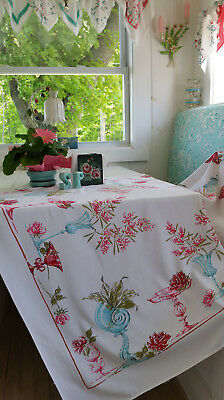 Vintage Whimsical Tablecloth Cotton Blend Turquoise Dark Pink Shells Roses Garde
