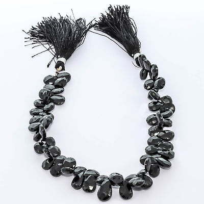 """Faceted Black Onyx Natural Gemstone Beads Strand Length 9"""""""