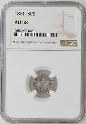 1861 NGC AU58 Three 3 Cent Silver Trime Civil War Coin Great Strike - I-12929