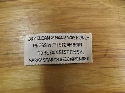 "Vintage New 540+ Woven Fabric Garment Care Labels Tags ""Dry Clean or Hand Wash"""