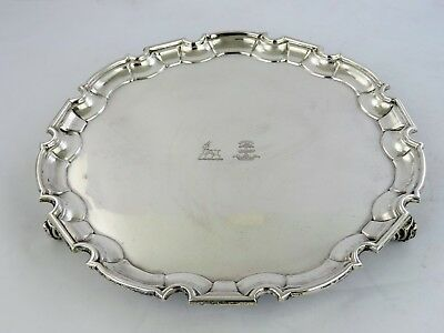 Elegant SILVER SALVER, Sheffield 1939 TRAY DOUBLE CREST fabulous condition 615g