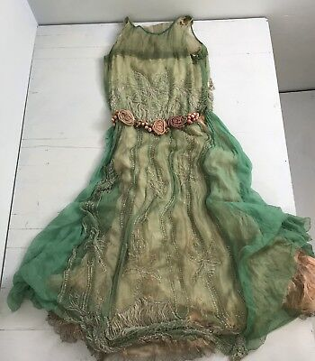 JT-VTG 20s Flapper Dress Hand Cut Faceted Rock Crystal Beads 15 yd French Lace