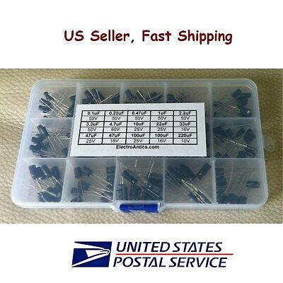 200 pcs Electrolytic Capacitor Assortment Kit with box 15 Values 0.1uF-220uF USA